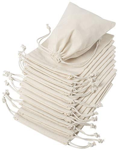 DR 100% Baumwolle Beutel Mit Kordelzug, Stoffsack Mit Band Zum Zuziehen - Organisch Und Natürlich, Weiß, 12.5x17.5 cm - 12 Stück