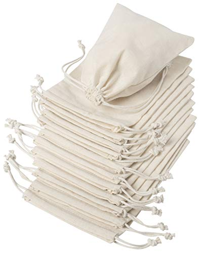 100 Percent Cotton Muslin Bags with Drawstring - Unbleached, 12-Pack (5 x 7 inch, Beige)