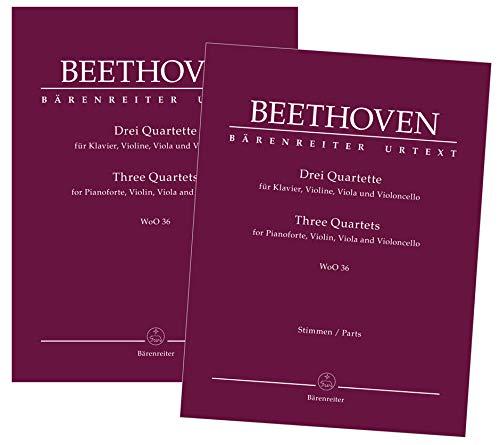 Drei Quartette für Klavier, Violine, Viola und Violoncello WoO 36. Spielpartitur, Stimmensatz, Urtextausgabe, Sammelband. BÄRENREITER URTEXT