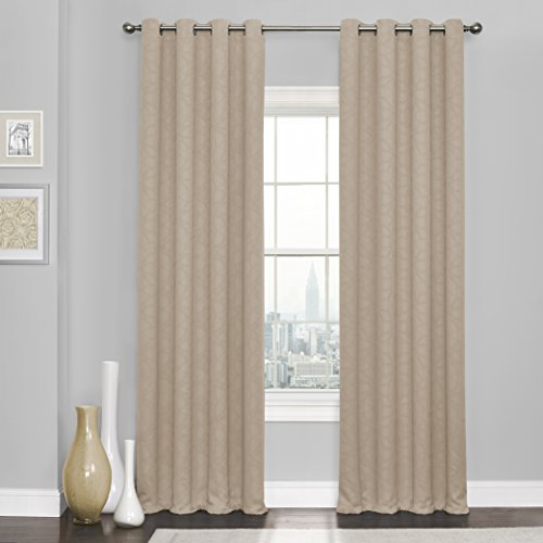 """Eclipse Blackout Curtains for Bedroom - Kingston 52"""" x 108"""" Insulated Darkening Single Panel Grommet Top Window Treatment Living Room, Natural"""