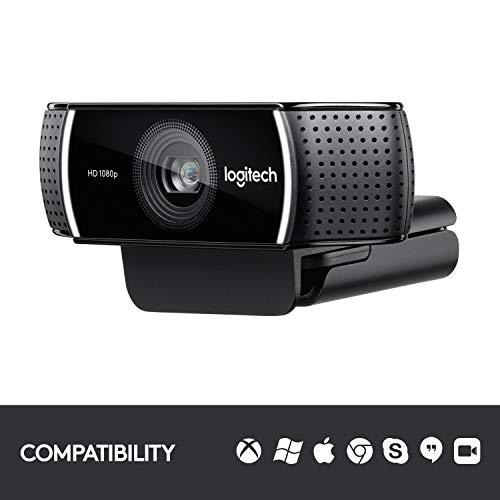 Logitech C922 Pro Stream Webcam, HD 1080p/30fps or HD 720p/60fps Hyperfast Streaming, Stereo Audio, HD light correction, Autofocus, For YouTube, Twitch, XSplit, PC/Mac/Laptop/Macbook/Tablet - Black