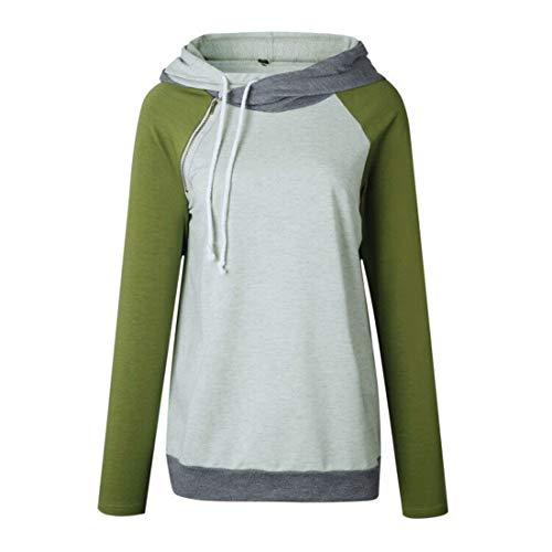 Damen Sweatshirt Langarm Freizeit Diagonale Zip Hoodie Kordelzug Kapuzen Pullover...