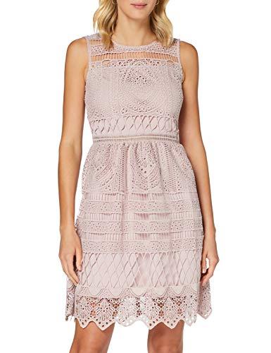APART Fashion Damen Lace Dress Cocktailkleid, Mauve, 42