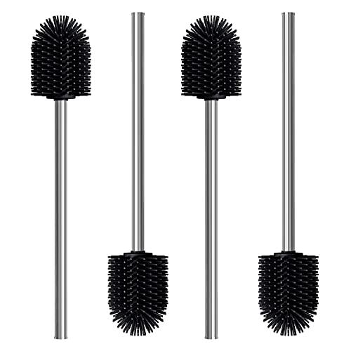 Nirox 4er Set Silikon Klobürste Schwarz - Toilettenbürste mit Edelstahlstiel - WC-Bürsten ohne Borstenausfall - Hygienische Klobesen mit Anti-Haft-Wirkung
