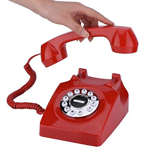 Wendry Vintage Antique Telephone, Teléfono con Cable, Números de Teléfono Antiguos, Teléfono Fijo de Vintage de Estilo Occidental, Teléfono Retro Almacenamiento Clear Sound(Rojo)