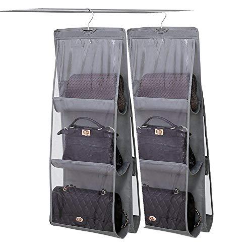 DSTong Handtaschen-Organizer für 6 Taschen, Vliesstoff, durchsichtig, Aufbewahrungstasche, Hängeorganizer grau