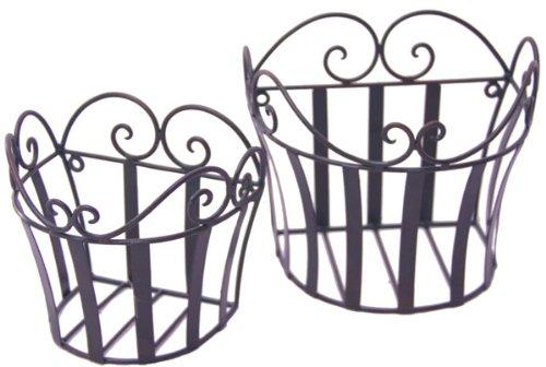 2er Set Wandkorb Hängekorb *Melli* Metall antik Landhaus, Eisen dunkelrostfarben lackiert