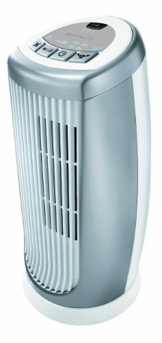 Bionaire BMT014D Mini Tower Fan, Oscillating with Timer & Optional Ioniser, Silver/White