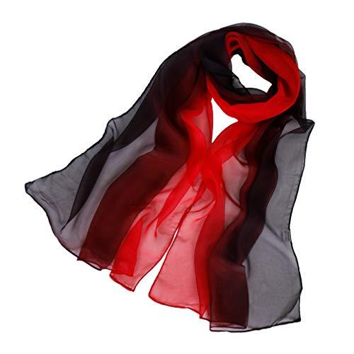 KAVINGKALY Frauen Farbverlauf Seidenschals weiche leichte Mischung Ombre Chiffon länglichen Schal (rot und schwarz)
