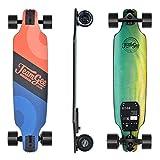 Teamgee H8 Skateboard Électrique - Longboard Adulte avec Télécommande, Moteur 480W, Trois Vitesses Réglables 16-25 km/h, Poid 5.3kg, Autonomie 12-15km (Bleu et Orange)