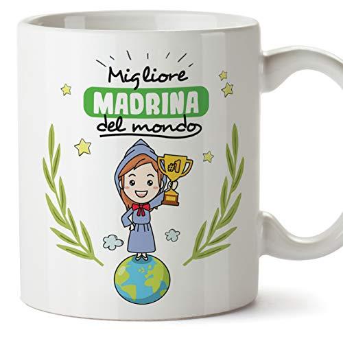 Mugffins Madrina Tazza Mug - Migliore Madrina del Mondo - Idea Regalo Giorno di Pasqua Battesimo - Tazza Migliore Madrina in Ceramica. 350 ml