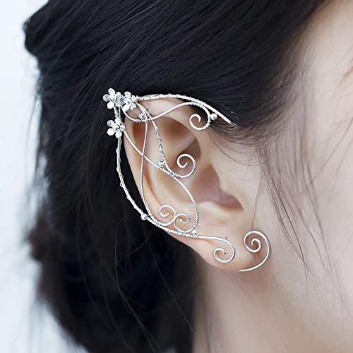 Pendientes de clip para orejas de elfo, diseño de hada de filigrana