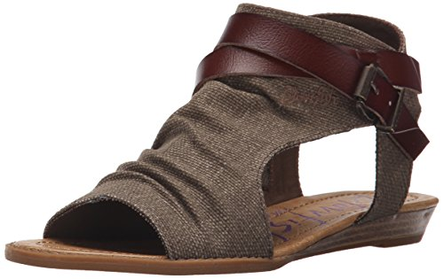 Blowfish Malibu Women's Balla Wedge Sandal, Brown Rancher Canvas/Whiskey Dyecut, 8 Medium US