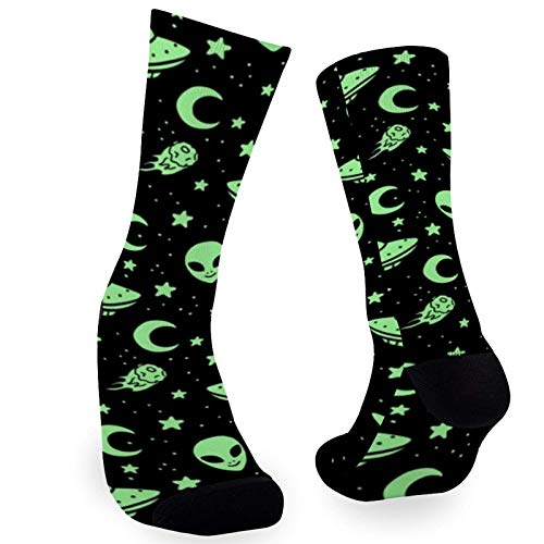 Women's Crew Socks, Green Alien heads and Spaceships Printed 30cm Cartoon Novelty Crew Stocking for Men and Women, Gift or Daily Wear