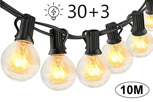 Lichterkette Außen Glühbirnen für Sommerabend - 10M 30 G40 Birnen mit 3 Ersatzbirnen, Lichterketten für Party Garten Balkon und Innen, Warmweiß [Energieklasse A++]