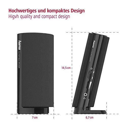 Hama Multimedia Lautsprecher E 80 (PC Lautsprecher mit 3,5 mm Klinke, USB, 2,5 W, aktive Boxen für Computer, Laptop, Notebook, Smartphone, Tablet) schwarz