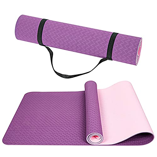 Wpond Tappetino da yoga, antiscivolo, tappetino per esercizi fitness in TPE ecologico, con cinghia per il trasporto, per yoga, pilates, ginnastica e palestra a casa, 183 x 65 x 0,6 cm, rosa e viola