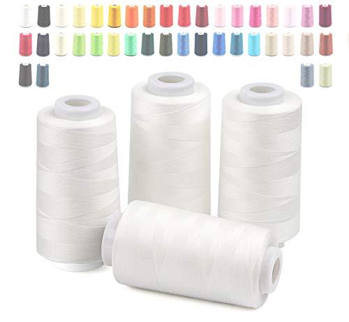 Cubewit Hilo de coser Overlock, 4 conos, 3000 yardas para coser a máquina, 100% poliéster (blanco)