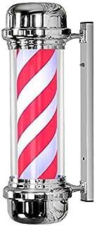 SAFGH Luz giratoria para peluquería al Aire Libre, Poste de peluquería LED de 71 cm Blanco + Rojo, peluquería giratoria, L...
