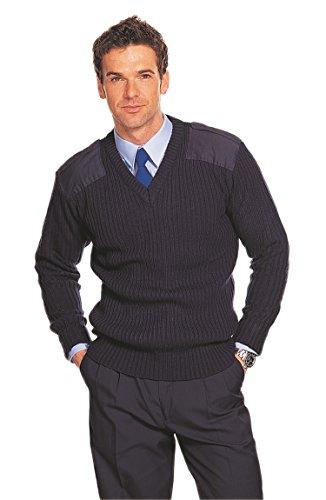 Maglione da uomo a coste, in 100% acrilico, con scollo a V, ispirato allo stile della NATO, della polizia militare e dei cadetti dell'esercito Navy XL