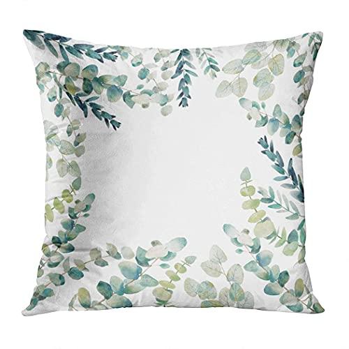 Jopath Funda de almohada rústica, funda de almohada de eucalipto de acuarela, funda de cojín de impresión suave, decoración de 40,6 x 40,6 cm