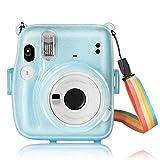 Funda Protectora para cámara instantánea Fuji Instax Mini 11, de PC, rígida, con Correa extraíble y Color Transparente (Azul)