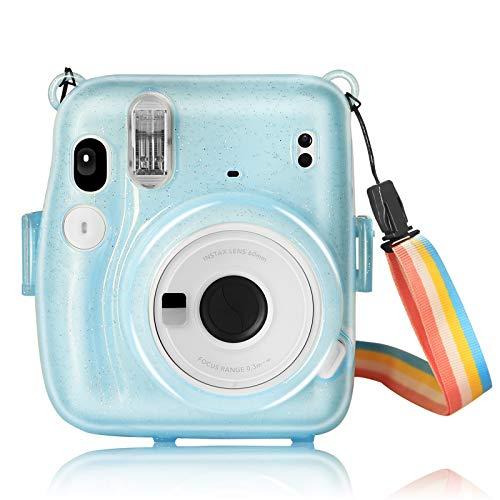 YEMXAM Borsa per fotocamera istantanea compatibile con Instax Mini 11,custodia per fotocamera,PC rigido trasparente,copertura protettiva per borsa da viaggio per fotocamera,anti-goccia e graffi (blu)