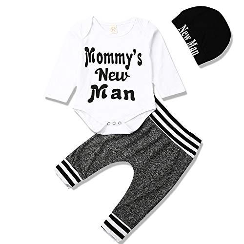 Bebé Recién Nacido Ropa De Los Niños De Manga Larga Mameluco Lindo De Impresión De Carta Monos Tops Pantalones Rayas Sombrero Otoño Invierno - - 3-6 meses
