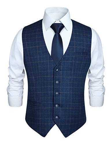 HISDERN Chaleco formal de fiesta de boda para hombres Chaleco de algodon a cuadros Azul real Vestido de traje Chaleco