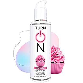 Turn On Cupcake Flavored Edible Sex Lube 8 Ounce Premium Personal Lubricant Long Lasting Formula for Condom Safe Vegan Ph Balanced Hypoallergenic & Paraben Free Intimacy Oral Lube for Men & Women