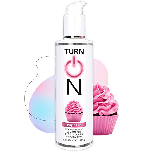 Turn On Cupcake Flavored Edible Sex Lube 8 Ounce Premium Personal Lubricant, Long Lasting Formula for Condom Safe Vegan Ph Balanced Hypoallergenic & Paraben Free Intimacy, Oral Lube for Men & Women