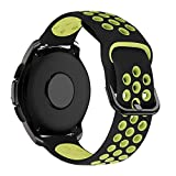 MroTech Correa 20mm Silicona Compatible Samsung Galaxy Watch 42mm/Active/Active2 40mm 44mm/Gear Sport Pulsera Repuesto para Vivoactive 3/Ticwatch C2/Huawei GT2 42 MM/Magic 2 42mm Band,Negro/Amarillo