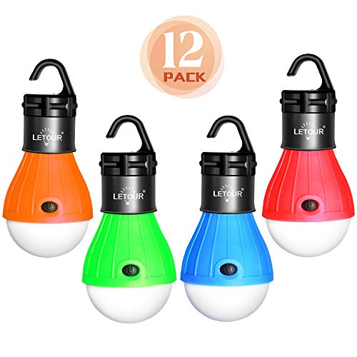 LETOUR 12 Pack LED Tent Lights, Portable Hanging Lamp,Waterproof LED Emergency Night Light Battery Powered for Hiking Fishing Camping Household Car Repairing Outdoor(12Pack)