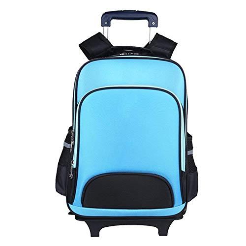 Anab Trolley-Rucksack-Grundschuletasche-Rollen-Buch-Tasche mit Rädern für Jungen (Color : Sky Blue)