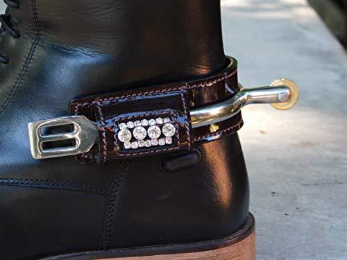 Tysons Breeches Sporenschutz Stiefelschutz Leder Lack Braun Schwarz Stiefel Schutz Glitzer Strass (Lack Braun - groß Silber)