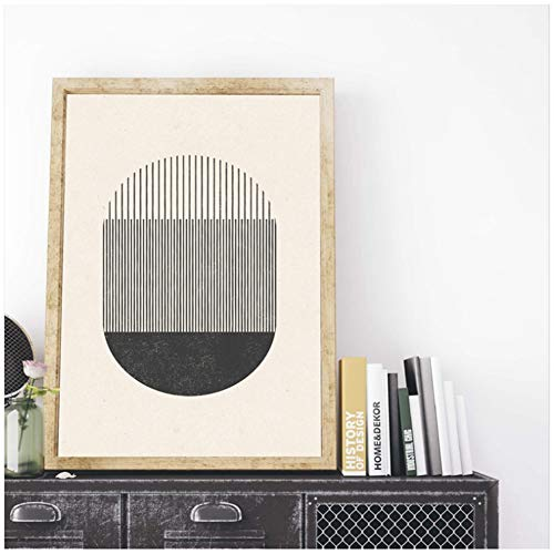 Halverwege de eeuw stijl houten blok druk een spel met vormen en lijnen Poster Canvas Schilderij Foto Home Wall Art Decor -50x70cm Geen frame