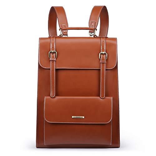 ECOSUSI Laptop Rucksack Damen für 15,6 Zoll Schulrucksack Mädchen Leder Daypack mit Laptopfach Wasserabweisend Braun