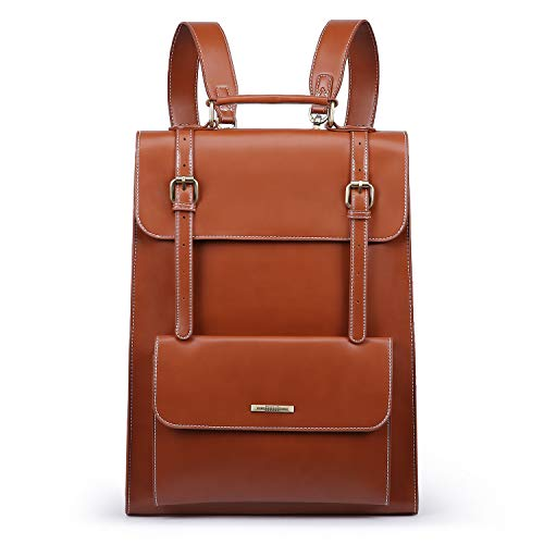 ECOSUSI Laptop Satchel Backpack for Women 15.6 Inch PU Leather School Rucksack Bags Ladies College Backpack