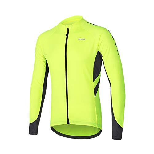 ARSUXEO Camiseta de Ciclismo al aire libre Camiseta de Color Contraste Chaqueta Camisas (Verde) EU M/Asiática L