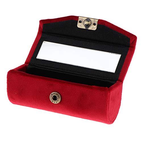 Générique Sharplace Boîte Etui de Rouge à Lèvres en Velveteen avec Mirror Supports Braillant à Lèvres Lipstick Petit de Boîte à Bijoux - Grenat