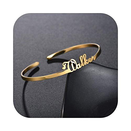 Bracelet Customized Nameplate Name Personalized Custom Cuff Bangles Women Men Rose Gold Stainless Steel Jewelry-Style2-Rose Gold