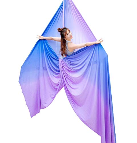 F.Life Profession Aerial Silks Equipment- Low Stretch,60 inch Width 9 Yards Aerial Silk Hardware kit for Acrobatic Dance,Air Yoga, Aerial Yoga Hammock Kids/beginer (9 Yards, Lavender Purple)