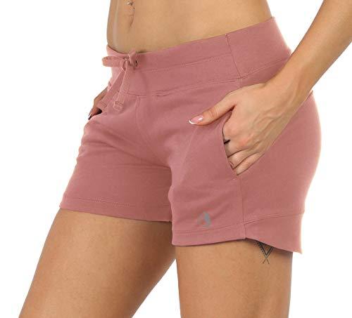 icyzone Pantalones cortos de chándal para mujer con bolsillos altrosa M
