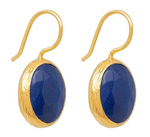 SARAH BOSMAN Pendientes para mujer con placa de oro y lapislázuli – Pendientes redondos plateados chapados en oro con piedras preciosas azules – 16 mm de diámetro – SAB-E01BLULAPg
