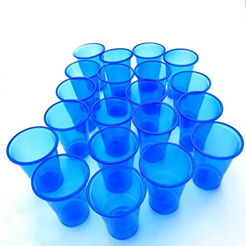 20 vasos desechables de plástico azul transparente – Elegante y duradero – no requiere limpieza – Ideal para café helado, batidos, cerveza y mucho más – 5 oz