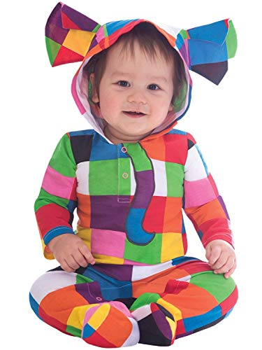 Baby Boys Girls Official Elmer The Patchwork Elephant Colourful Fancy Dress Costume Hooded Romper Suit World Book Day Week 3-18 Months (6-9 Months)