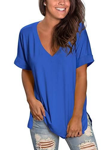SAMPEEL Womens Short Sleeve Deep V Neck Shirts Summer Tunic Tops High Low Tees Blue L