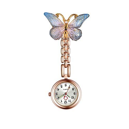Lancardo ナースウォッチ 蝶 懐中時計 看護師 クリップ レディース アナログ 時計 ポケットウォッチ ローズゴールド プレゼント