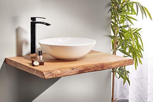 Waschtischplatte Eiche massiv Baumkante geölt Waschtisch Holz (60 x 40 cm) - 2