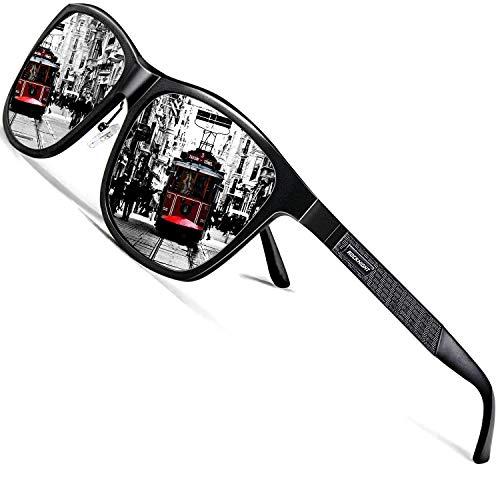ROCKNIGHT HD Polarized UV Sunglasses for Men Silver Mirrored Sunglasses for Women Metal Square UV 400 Sunglasses Stylish